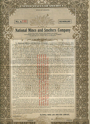 1912 National Mines & Smelters Company Arizona Certificate