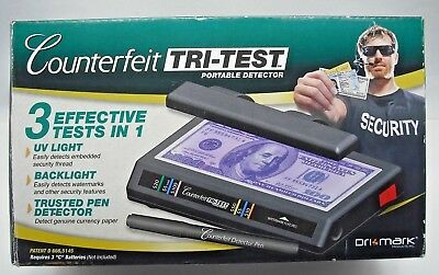 Dri Mark Products Tri-Test UV Counterfeit Detection System w/ Pen & Batteries