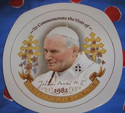 Vintage 1982's Plate To Commemorate the Visit of Pope John Paul II