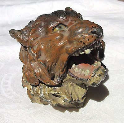 Antique Cold Painted Lion Inkwell