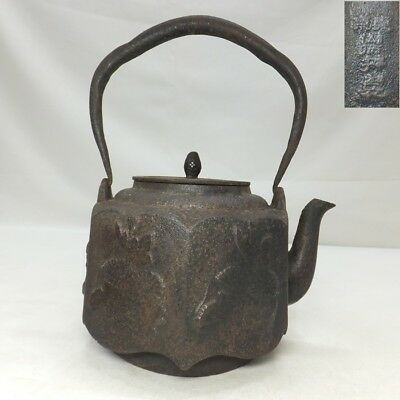 D813: Japanese NANBU iron teakettle TETSUBIN with great shape and relief work