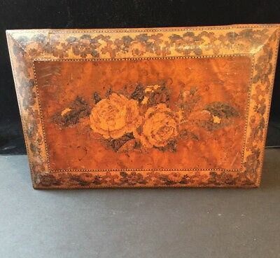 Antique Tunbridge Game Box With Complete Playing Cards & Cribbage Set 1850