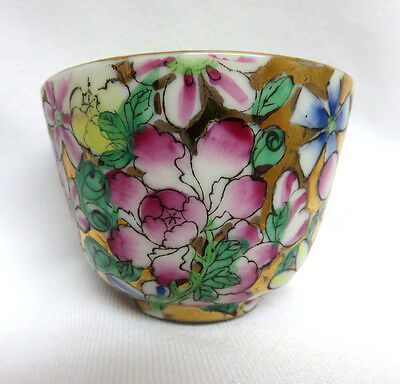 Vintage 70's Chinese Multi-Color Floral w/ Gilt Porcelain Teacup