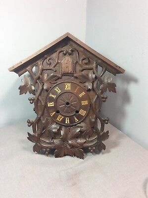 Early German Black Forest Spring Wind Carved Cuckoo Clock Case.