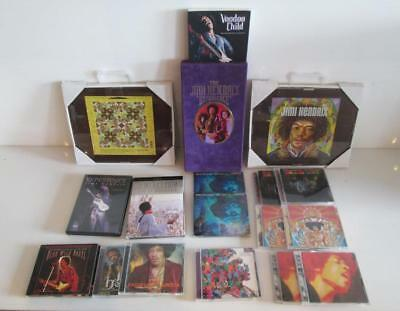 Lot of Jimi Hendrix Collectible DVD CDs The Jimi Hendrix Experience Wall Hanging