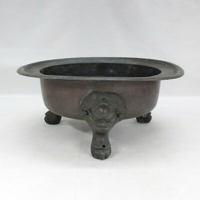 D797: Real old Japanese copper shallow flower basin with foo dog's leg