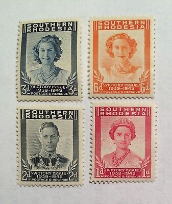 postage stamps Southern Rhodesia 1945 Victory Issue set of 4 George Vl.     N
