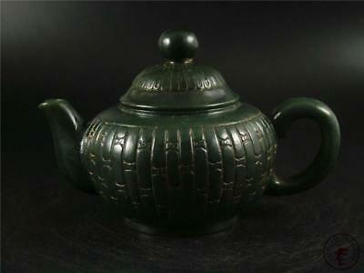 Old Chinese Spinach Green Nephrite Jade Teapot W/ COVER TRADITIONAL STYLE TOP