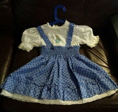 VINTAGE 1950s Kate Greenaway Kitty Frock Dress Blue White Lace Girls Sz. 6 EUC