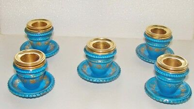 Five antique French turquoise and gilt bronze candelabra cups