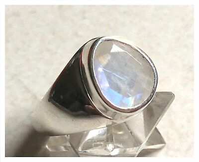 925 Sterling Silver MOONSTONE Semi Precious GEMSTONE RING SIZE Q 1/2  - US 8.5