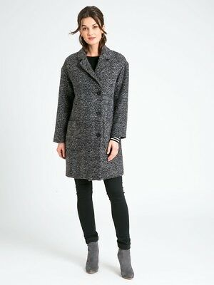 New JoJo Maman Bebe Maternity Gray Herringbone Winter Coat S US 2/4 (UK 6/8)