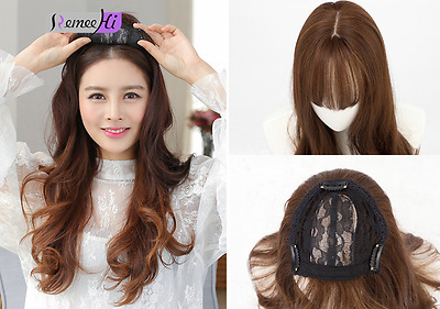 Beauty Long Synthetic hair Topper Top Piece Women Hairpiece with bang Toupee
