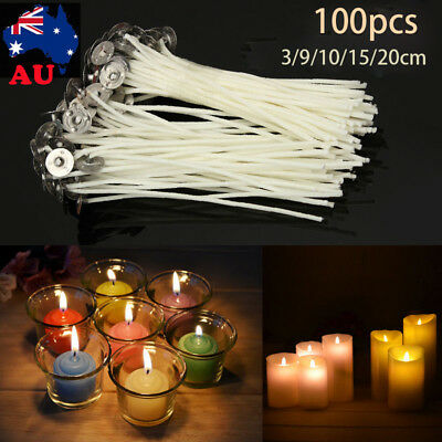 Candle Wicks Low Smoke Pre Waxed Wick with Tabs Sustainers Cotton Core AU