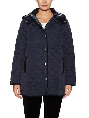 New JoJo Maman Bebe Maternity Navy Quilted Coat, Winter Jacket S US 4/6 (UK 8/10