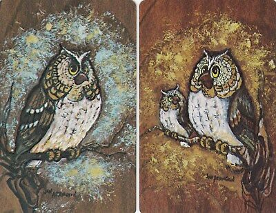 Vintage Swap / Playing Cards-2 SINGLE - OWLS