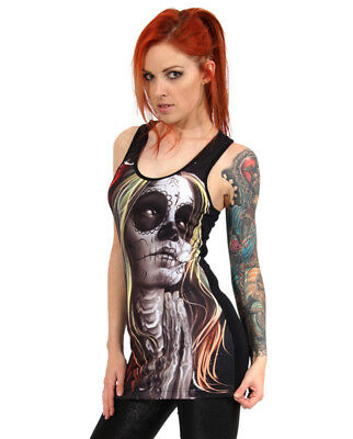 Liquorbrand Faith Rose Dod Black Emo Punk Rock Gothic Tank Top 8 10 12 14 16