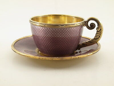 Russian Silver Guilloche Enamel  Cup & Saucer Stamped Faberge