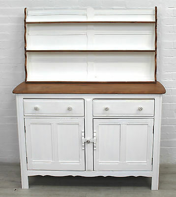 Vintage Ercol Petite Dresser, Natural Elm & White Painted Waxed Finish - Vgc