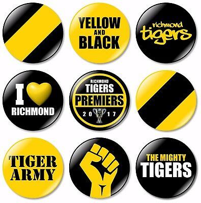 9 x Richmond Tigers 32mm BUTTON PIN BADGES AFL Australian Rules Football Footy