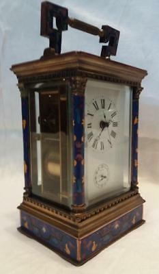 Large Champleve Brass Carriage Repeater Alarm Clock