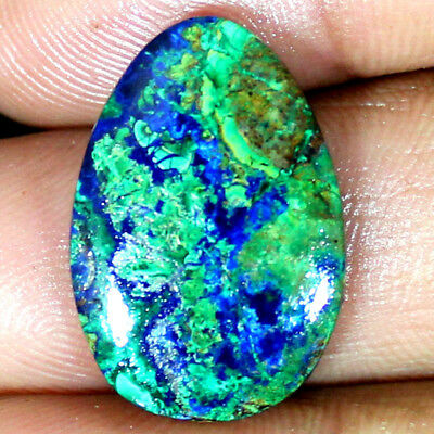~UNTREATED~ NATURAL GREEN BLUE AZURITE MALACHIGE PEAR CAB GEMSTONE 19.25 CTs