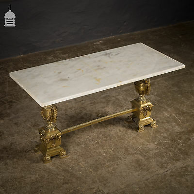 Ornate 19th C Marble Topped Table with Brass Base