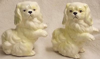 "Pair of Antique 5"" Pekingese Ceramic Dogs Norleans Japan - Great Detail in Eyes"