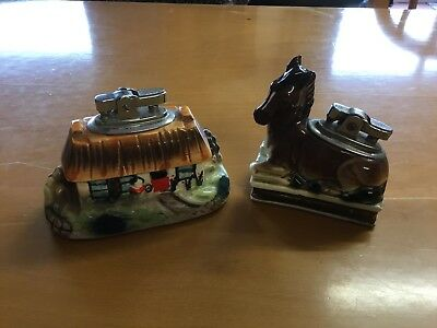 Pair of RARE VINTAGE TABLE LIGHTERS - HORSE/PONY & COTTAGE - one marked under