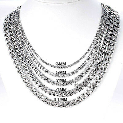 From USA ! 5/7mm MENS Boys Chain Silver Tone Curb Link Stainless Steel Necklace