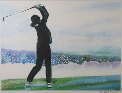 René Broné - Playing Golf at Pebble Beach - 75,5 x 95,5 cm - Zeefdruk op papier