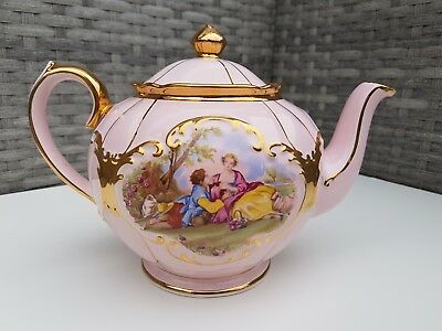 Sadler Round Globe Teapot Pink and Gold D Rare Courting Couple
