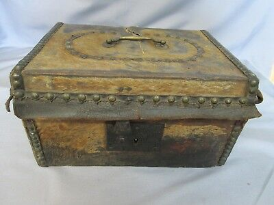 Antique Hide Covered Document Chest, Trunk, Box, Working Lock & Key
