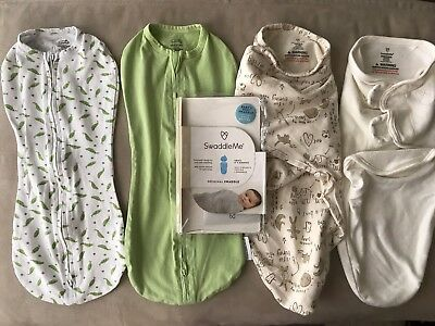 Lot of 4 Swaddlers/Summer Infant SwaddleMe Baby Swaddling Wrap, Newborn Pod