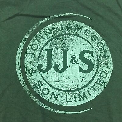 John Jameson XL Green T shirt Irish Whiskey Front Logo
