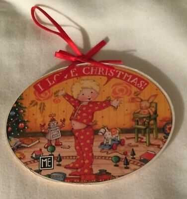 MARY ENGELBREIT ORNAMENT I LOVE CHRISTMAS PAPER on WOOD CHILD TOYS ART SIGNED