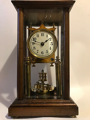 Early 1900'S 4 Glass 400 Day Antique Torsion Mantel Clock Disc Pendulum Annivers