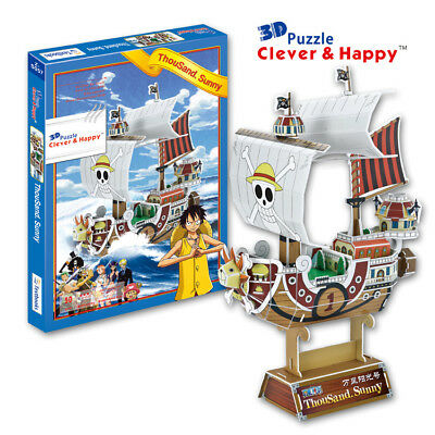 6d1c178e1a2a 3D PUZZLE DIY toy paper model One Piece boat ship going merry thousand  sunny 1pc