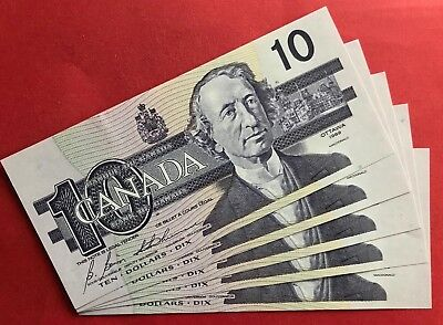 1989 $10 Bank of Canada BEF Changeover Prefix - 274.95 Ch UNC 5 Consecutive!