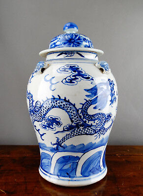 Chinese Porcelain Baluster Vase Jar Blue and White Dragon Antique 19th Century