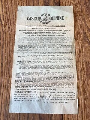 Hill's Cascara Bromide Quinine  Pamphlet Early 1900s W H Hill Company