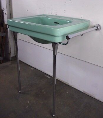 Antique Vintage American Standard Green Console Sink Roxbury Lavatory 1940's