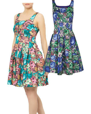 Darling S-XL UK 10-16 RRP �69 Talia Fitted Dress Floral Roses Hourglass Blue