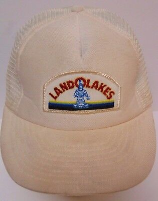 Vtg 1980s LAND O'LAKES Dairy Cheese Milk ADVERTISING PATCH SNAPBACK TRUCKER HAT