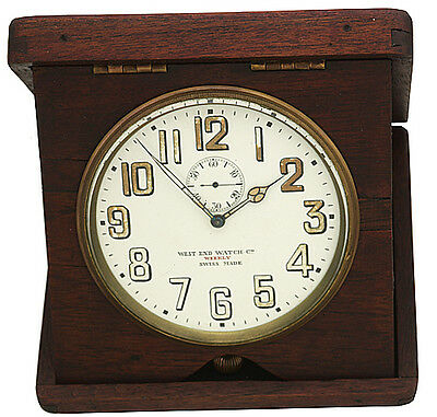 West End Watch Co. (Swiss) 8-Day Clock in Folding Wood Case/Stand