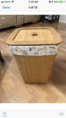 Longaberger  Large Hamper Basket Wood Lid Botanical Liner And Protector