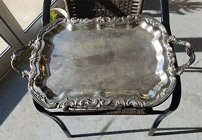FB Rogers Silver Co 1883  Footed Ornate Silver Plate Butler Tray With Handles
