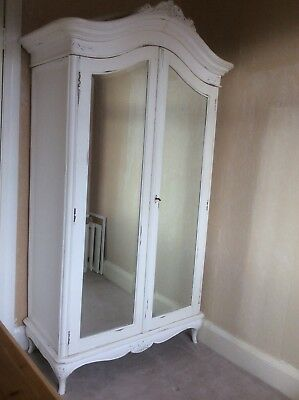 French style shabby chic vintage pine Farrow and Ball white painted wardrobe