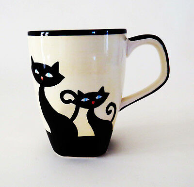 HUES N BREWS Black Cat Coffee/Tea Mug ~ Mint
