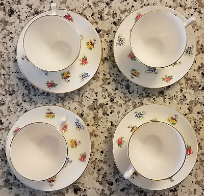 8 Pieces of Crown Staffordshire Fine Bone China Made in England 4 Cups 4 Saucers
